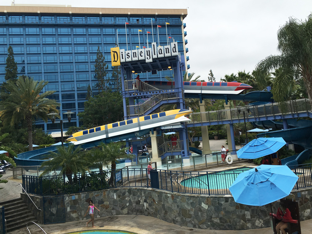 The pool area of the iconic Disneyland Hotel